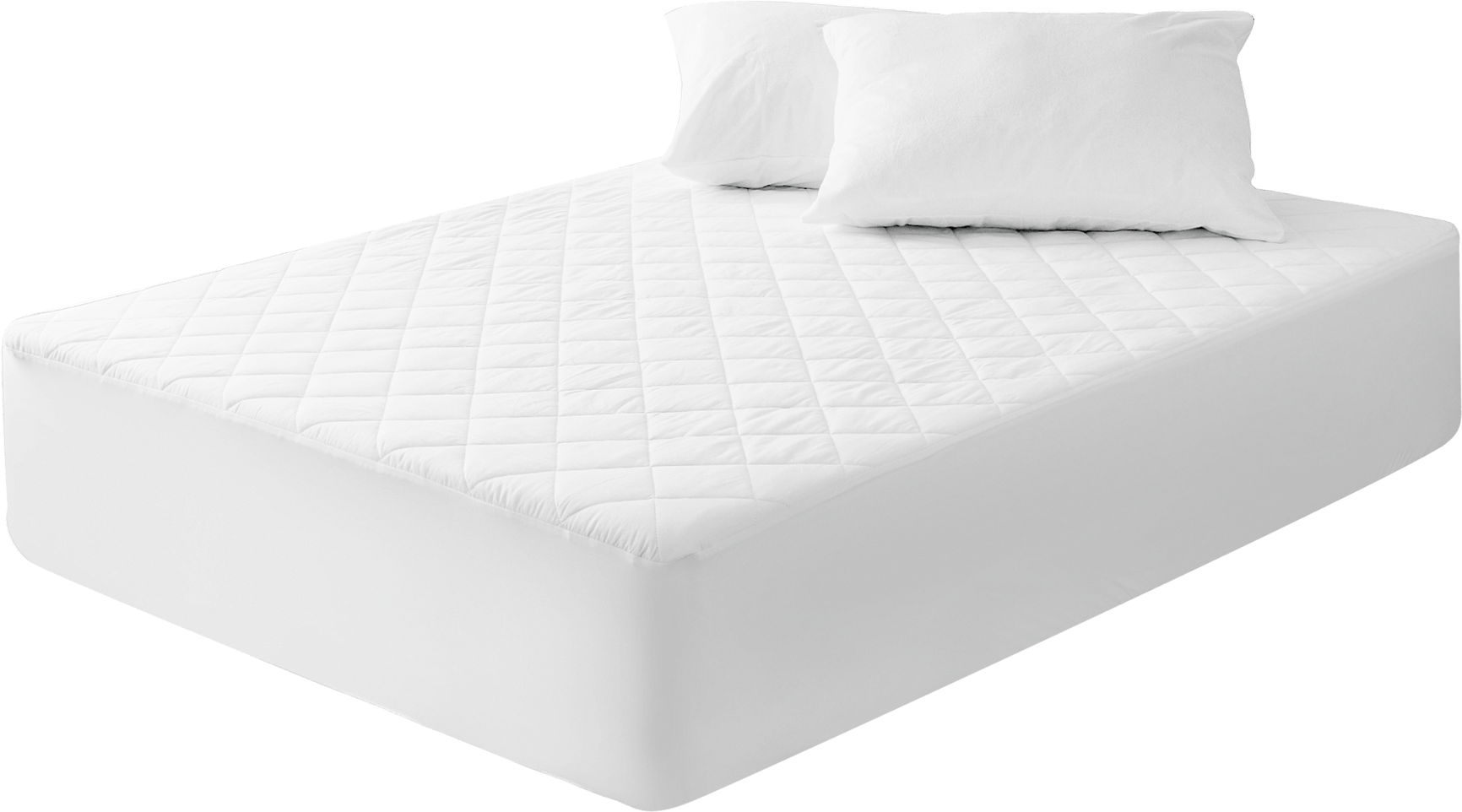 bed with quilted mattress protector on it